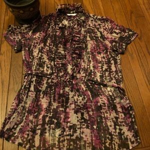 New York & Company purple ruffled blouse